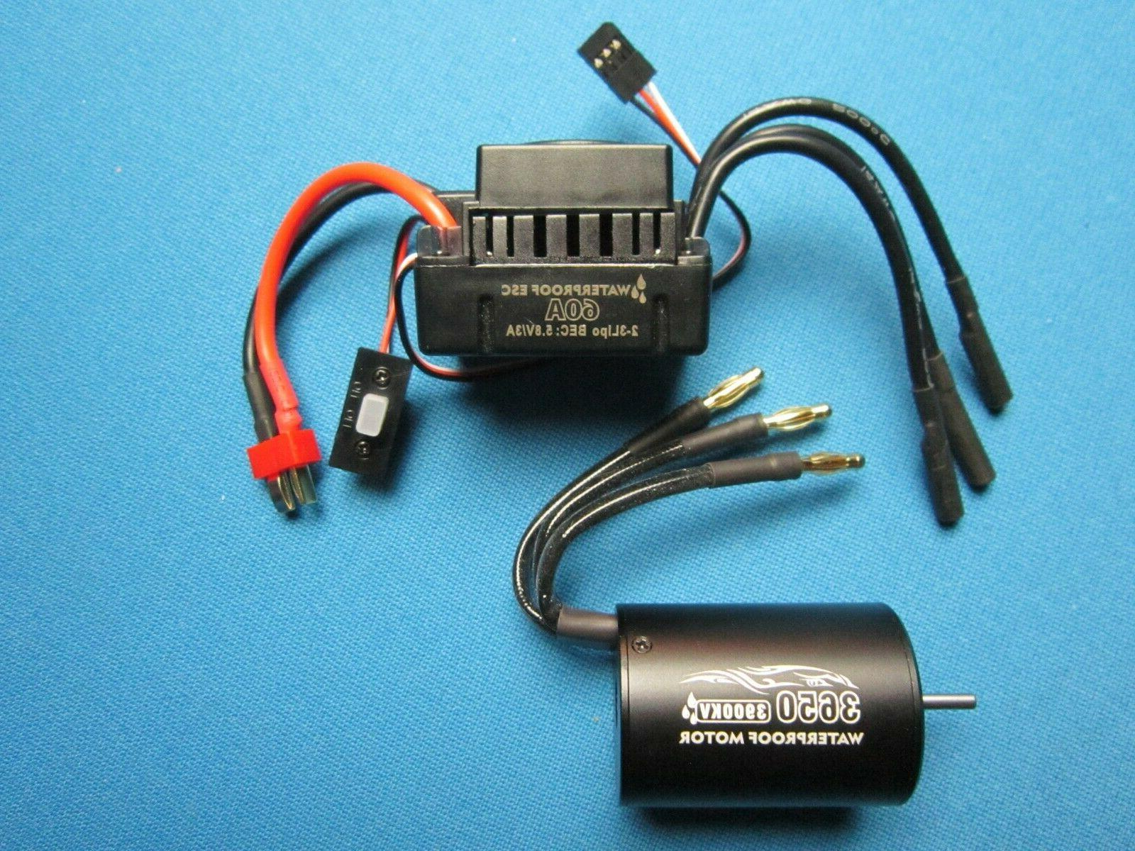 waterproof 60a esc and 3650 brushless motor